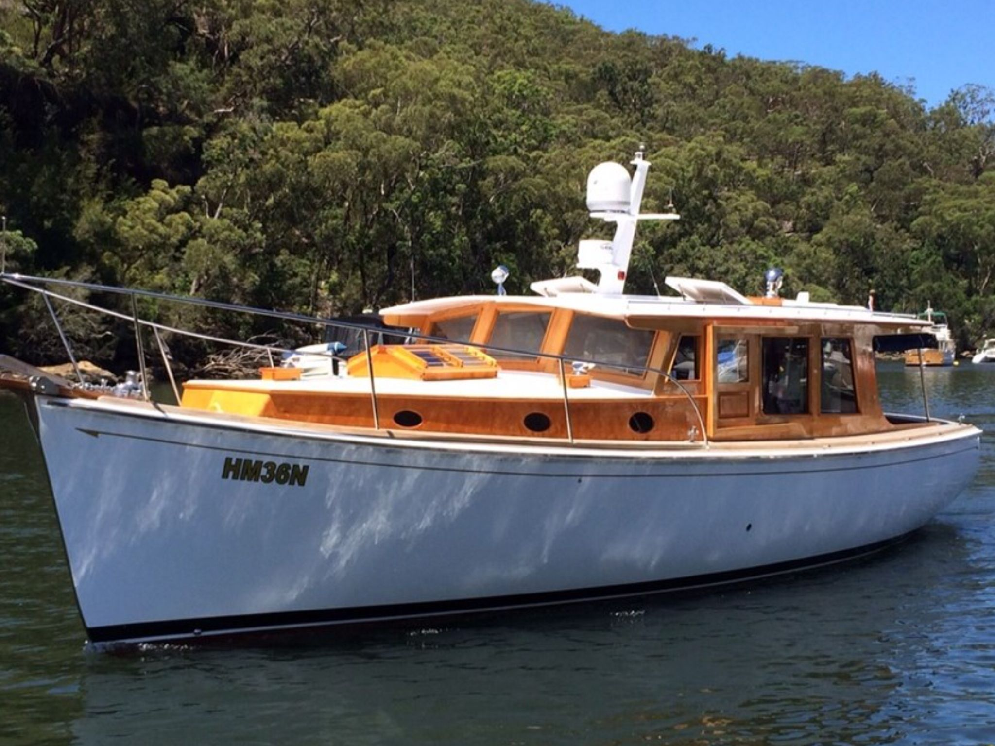 A 36 foot Huon Pine cruiser. Actually built in 2009 at the Wooden Boat Centre on the Franklin River in Tasmania.