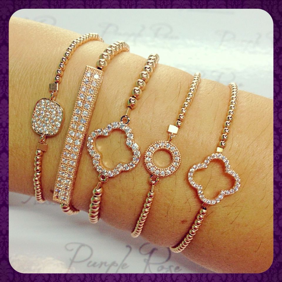 Pulseras de gold filled rose con dije pave jewelry for Beards jewelry jacksonville fl