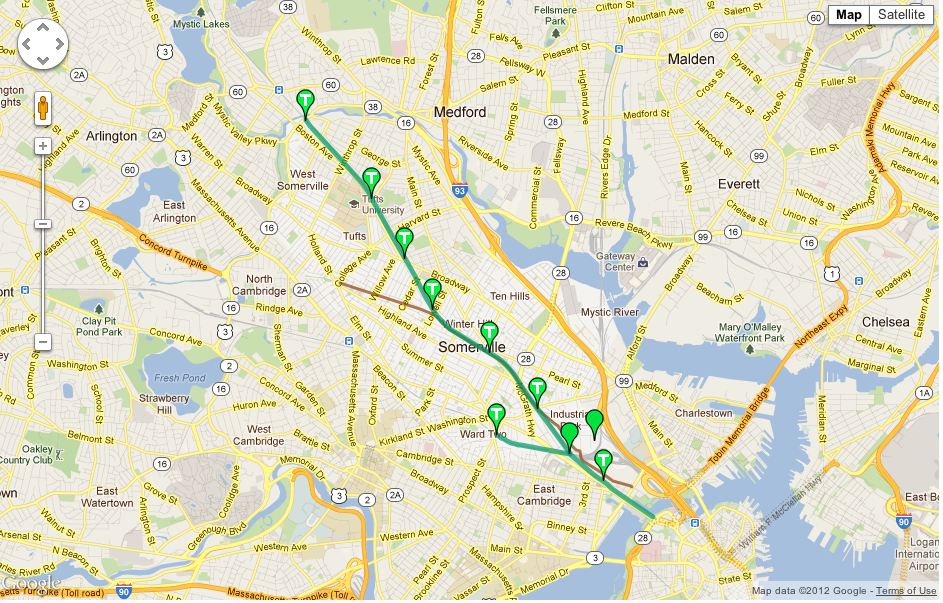 Map of the Green Line extension into Somerville. See http://www.