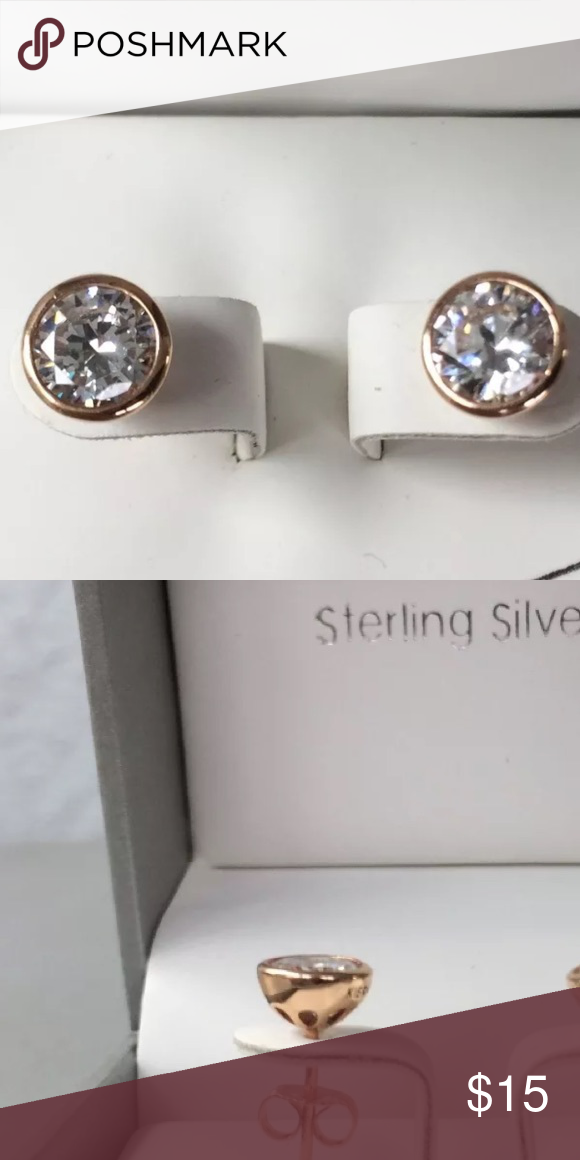 Kiera Couture 18k Rose Gold Swarovski Earrings Over Sterling Silver Zirconia