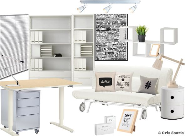 planche tendance moodboard bureau shopping kizuku interio muuto ikea kartell gris. Black Bedroom Furniture Sets. Home Design Ideas
