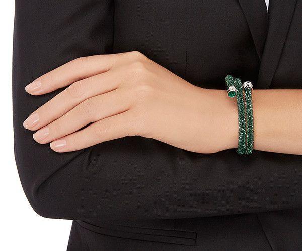 LOVE. Crystaldust Bangle Double, Green from #Swarovski | Double ...