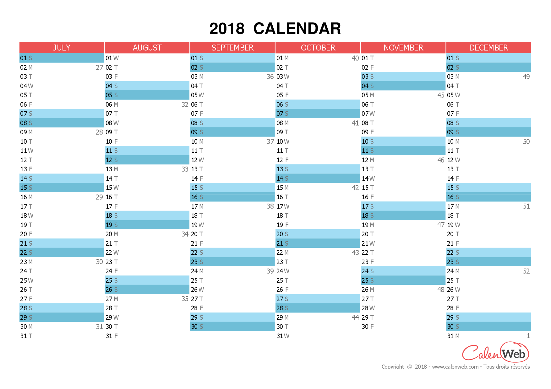 Semiannual printable calendar – Year 2018 (July to December
