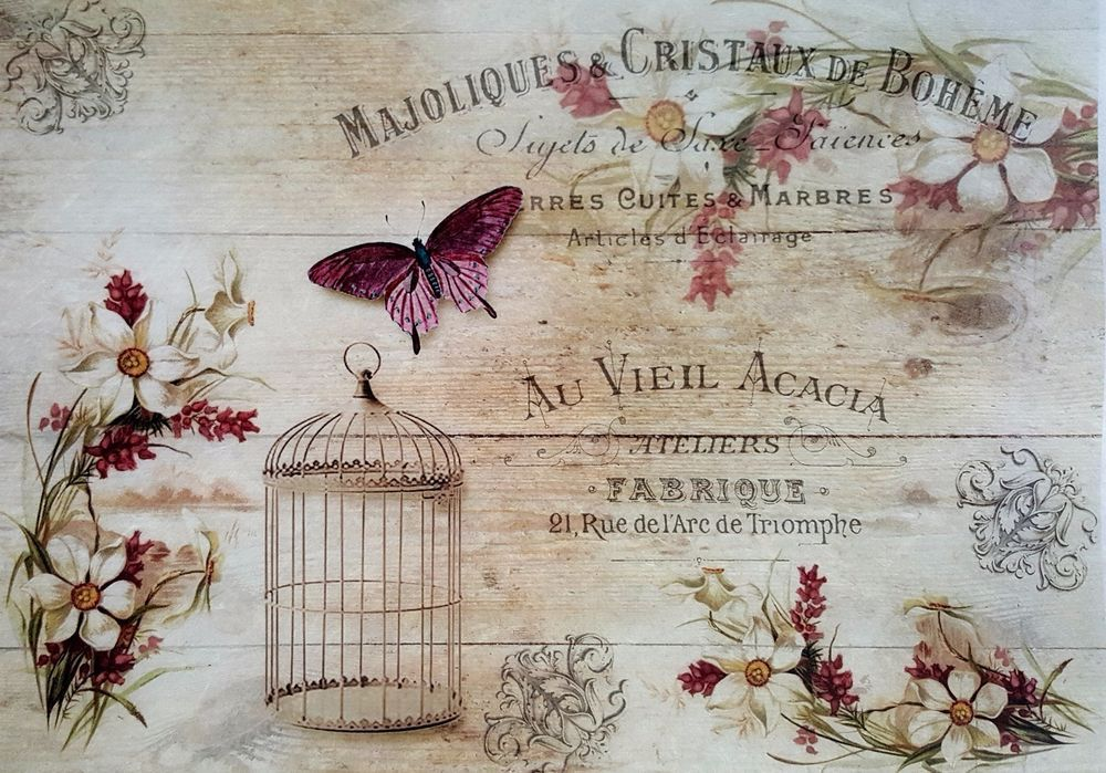 Scrapbooking Rice Paper for Decoupage Sheet Craft Vintage Roses on the Board