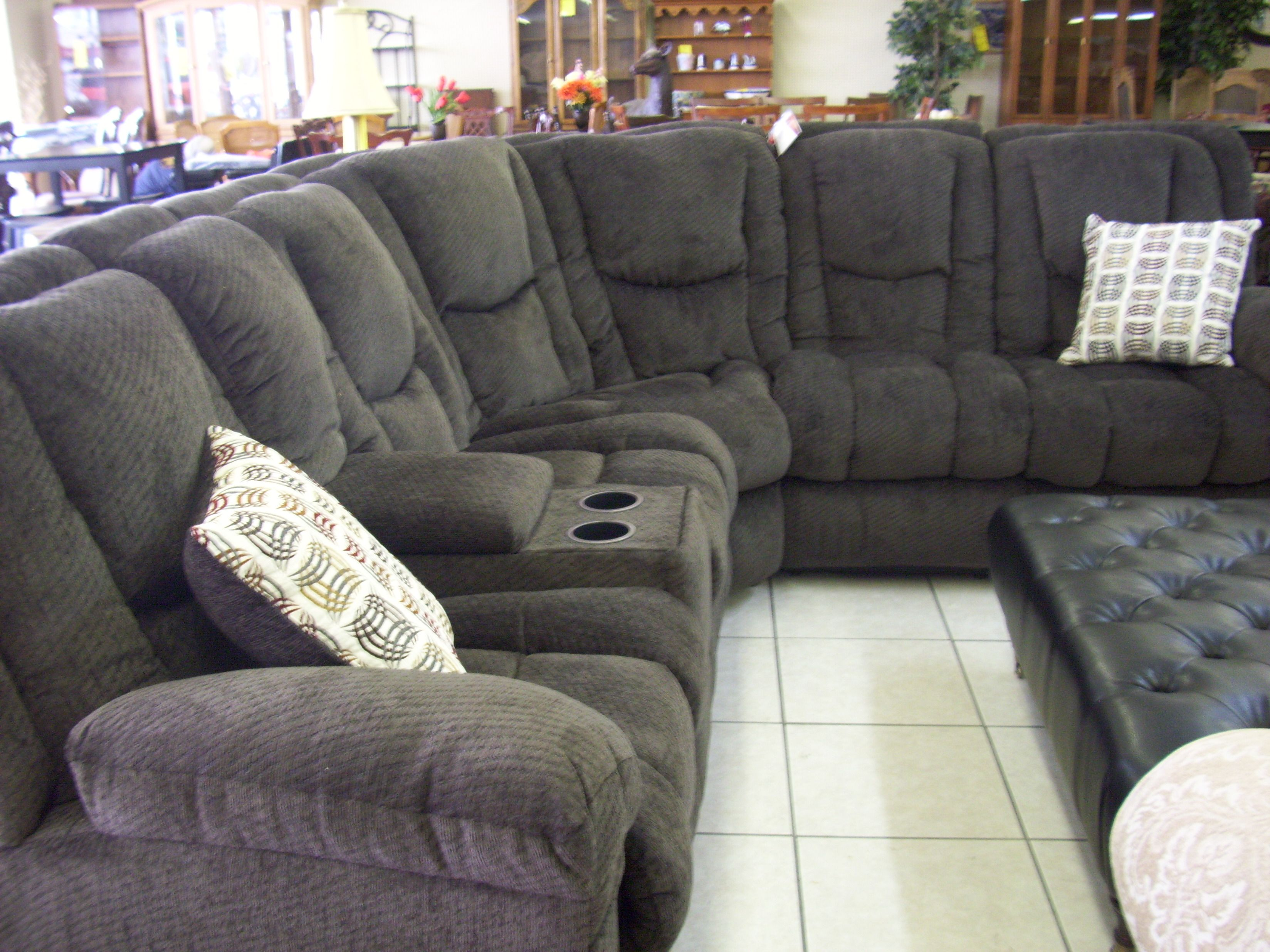 Amazing Charcoall Shaped With 3 Reclining Gray Sectional Sofa On White  Ceramic Tile Flooring In