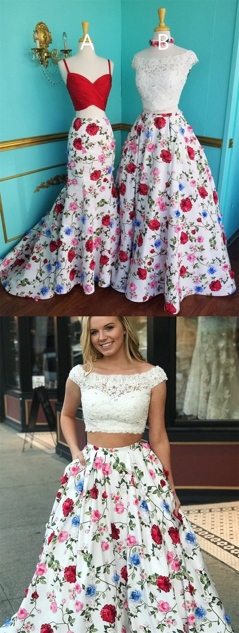 Two piece bateau long floral prom dress with lace pockets fashion