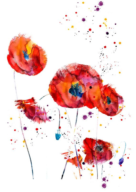 abstrakt mohn blume aquarell kunstdruck poster von. Black Bedroom Furniture Sets. Home Design Ideas