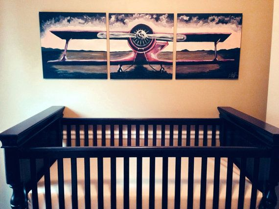 Made To Order Handpainted 3 Piece Canvas Original Airplane Painting 3 Sizes To Choose From With Images Airplane Painting