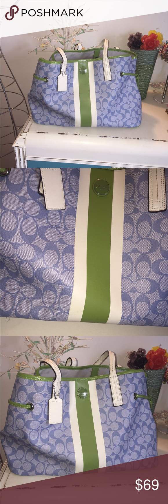 Coach tote used Blue and green coach tote measures 17 in by 11 in about 6 inches depth, lots of pockets inside. See additional pics listing :) there are some marks on the side, bottom, and the bottom of the front please see additional pics for details Coach Bags Totes