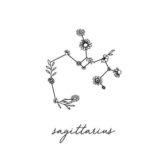 'Sagittarius Zodiac Wildflower Constellation' Poster by aterkaderk