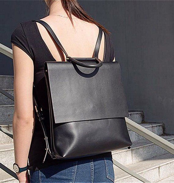 bc519f1b1aa4 Leather backpack women black leather laptop bag leather minimalist ...