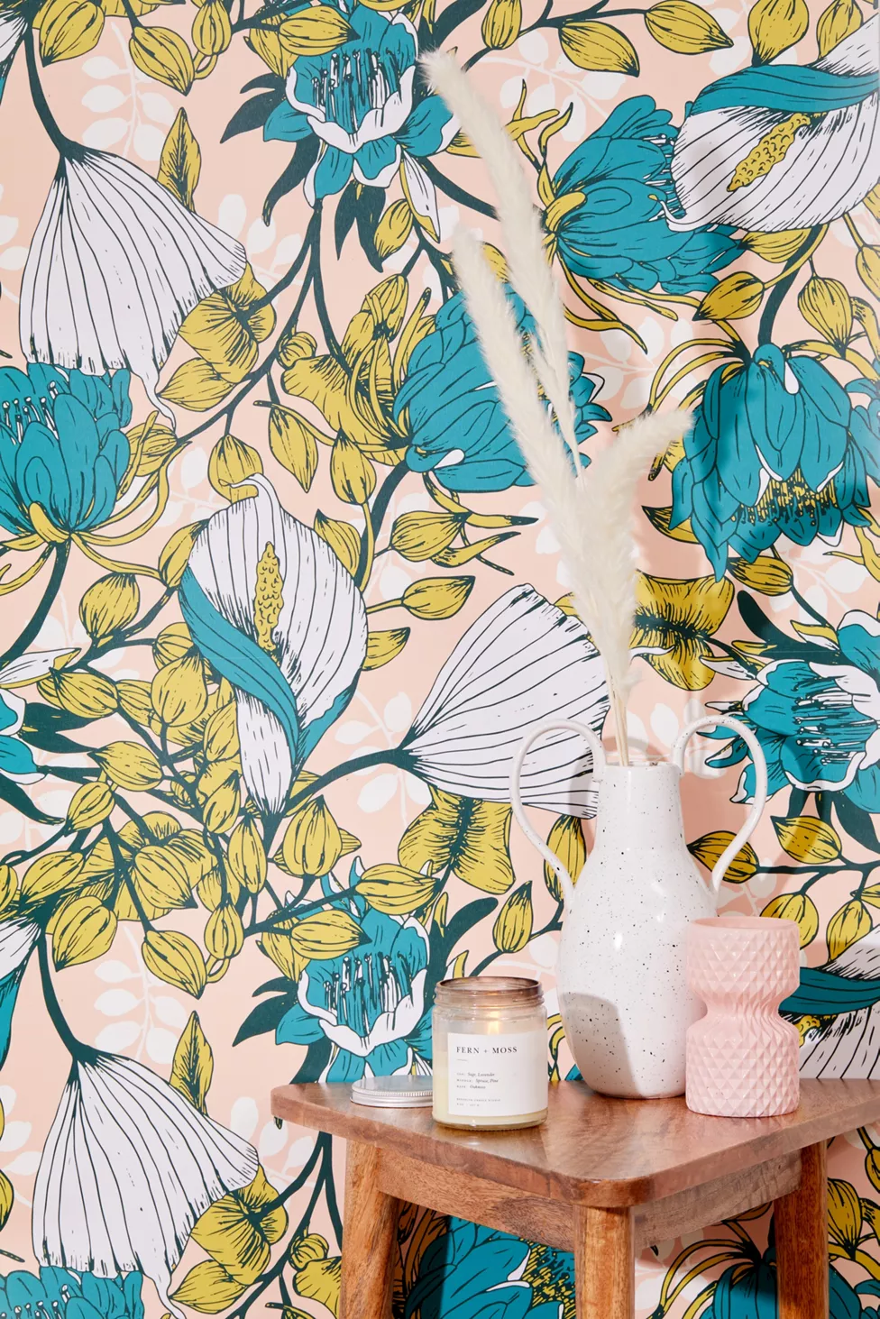 Tropical Bloom Removable Wallpaper Urban Outfitters Removable Wallpaper Fern Wallpaper Wallpaper Accent Wall