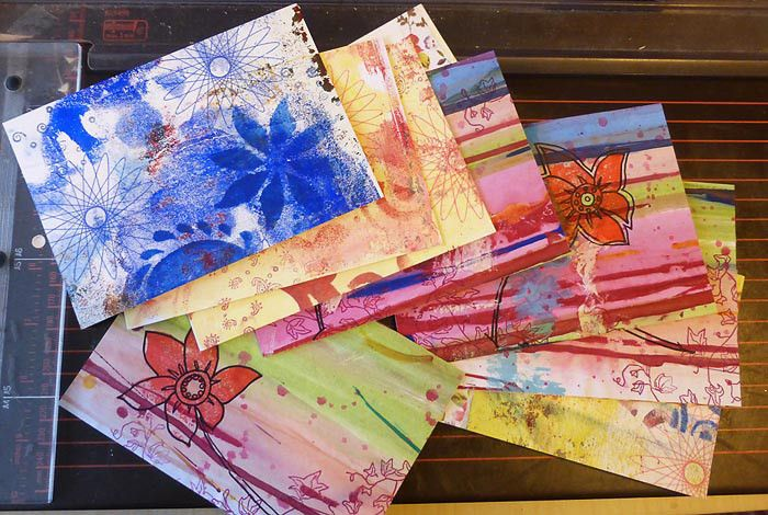 Pile by Debbie Mailmaker for iHanna DIY Postcard Swap fall 2015. #mailart