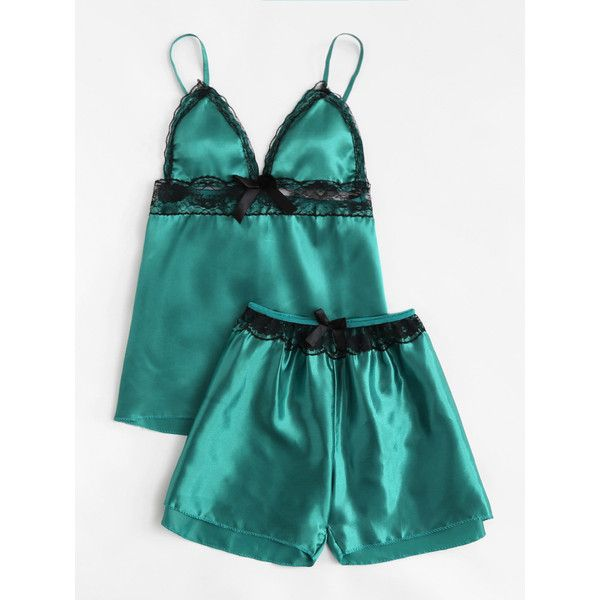 SheIn(sheinside) Lace Trim Bow Detail Satin Pajama Set ( 11) ❤ liked on Polyvore  featuring intimates 63006533c