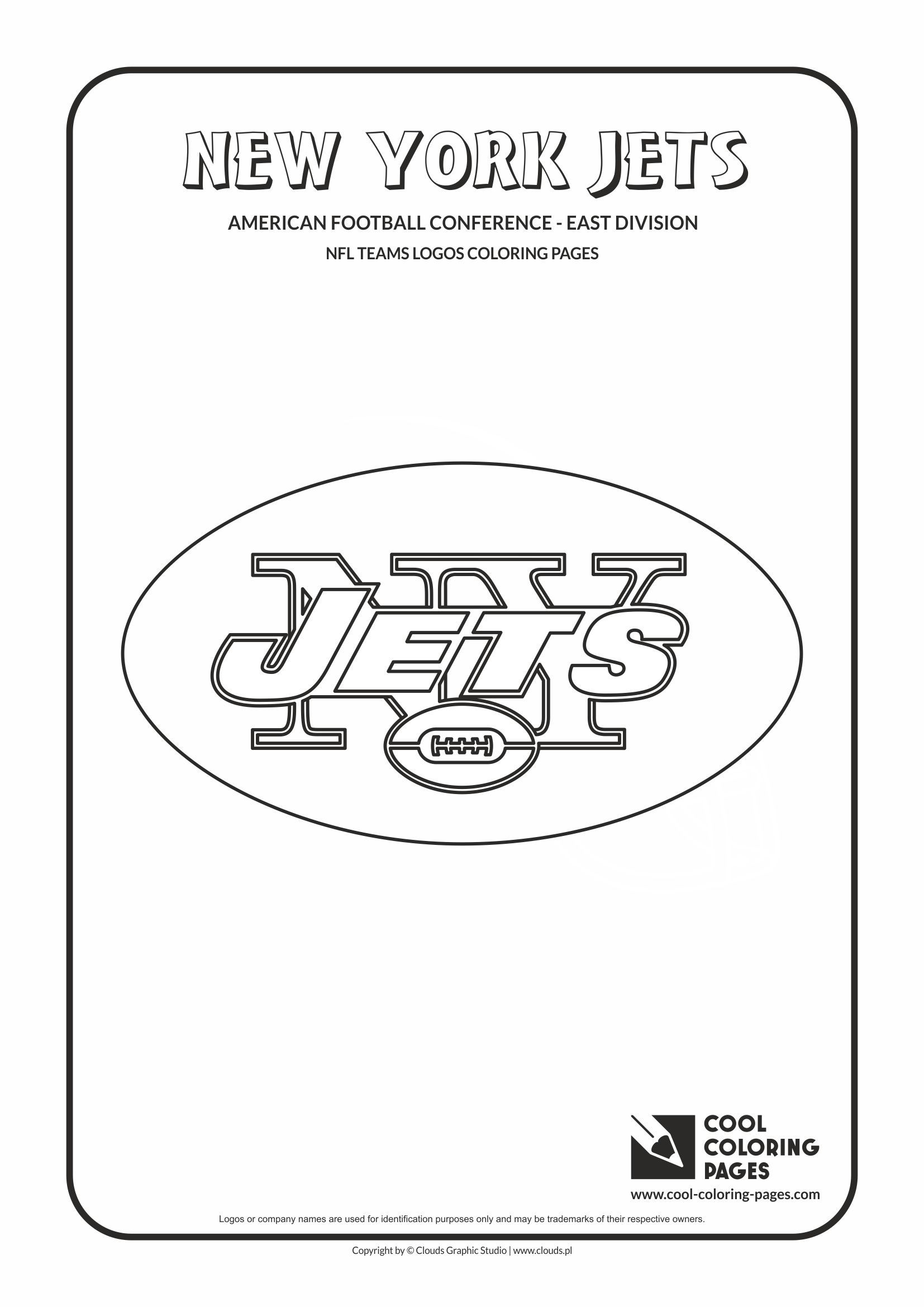 New York Jets Nfl American Football Teams Logos Coloring Pages