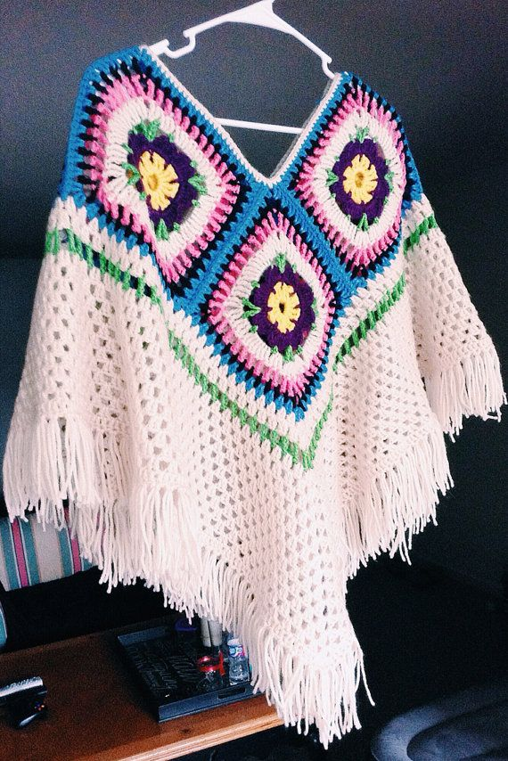 Crocheted Poncho Women\'s Shawl Champagne Poncho by TheThriftyWolf ...