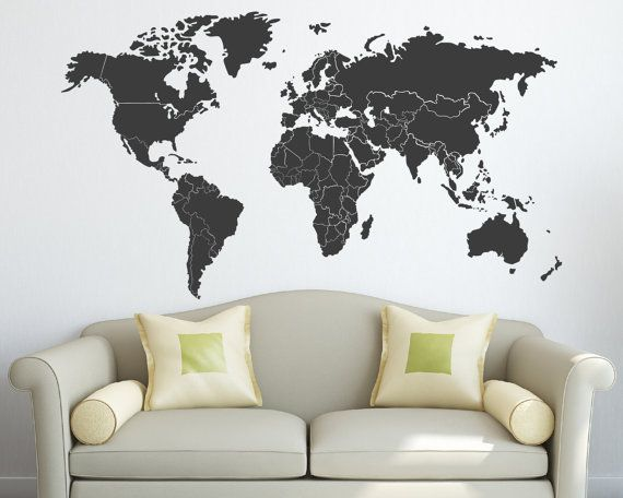 World Map Decal with Countries Borders Wall decals, Walls and Room - new world map blank with countries border