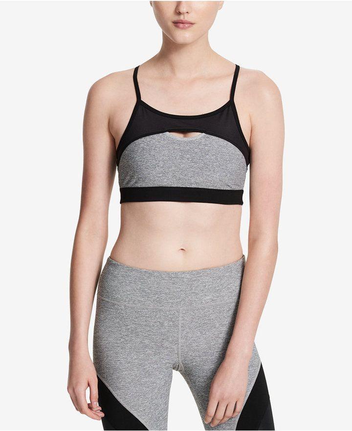8975e9c951 Calvin Klein Performance Keyhole Medium-Support Sports Bra - Tops - Women -  Macy s