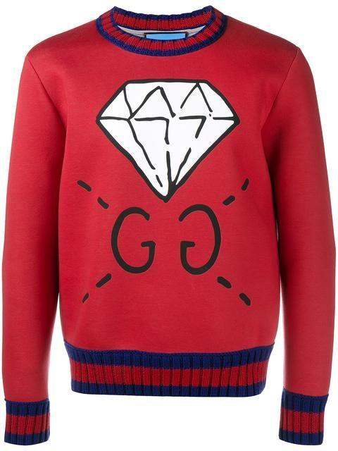 GUCCI diamond print sweatshirt.  gucci  cloth  sweatshirt Red Polo Shirt  Mens 65a79a7f05f9