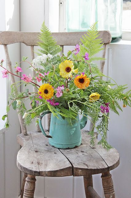 Country Farmhouse Wildflowers Garden Old Bleached Vintage Wooden Chair Chippy Metal Watering Can
