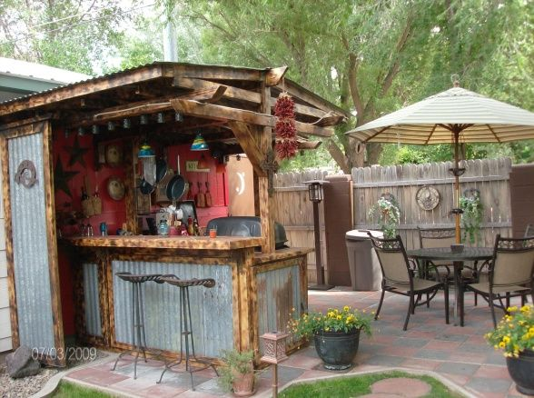 eclectic outdoor kitchen/garden, outdoor kitchen and patio with