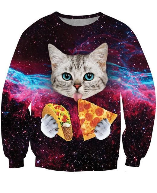 1f10e356530 ... T Shirt Lovely Kitten Cat Eat Taco Pizza Funny Tops Tee Short Sleeve Summer  Shirts Plus Size. Pizza Cat Shirt - Trippy Space Cat - Psychedelic