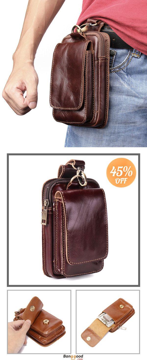 Men Waist Bag Retro Leather Fanny Chest Belt Pouch Crossbody Shoulder Pack  N#S7