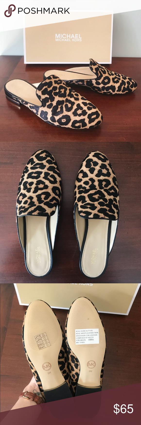 """0d186a79cf1c Michael Kors Leopard Mules Michael Kors Natasha Leopard Print Slides.  Gorgeous!! """"Tap"""