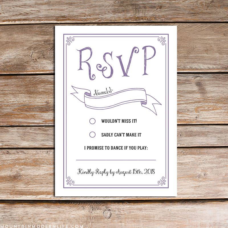 Lavender diy wedding invitation set invitations for Rsvp template for event