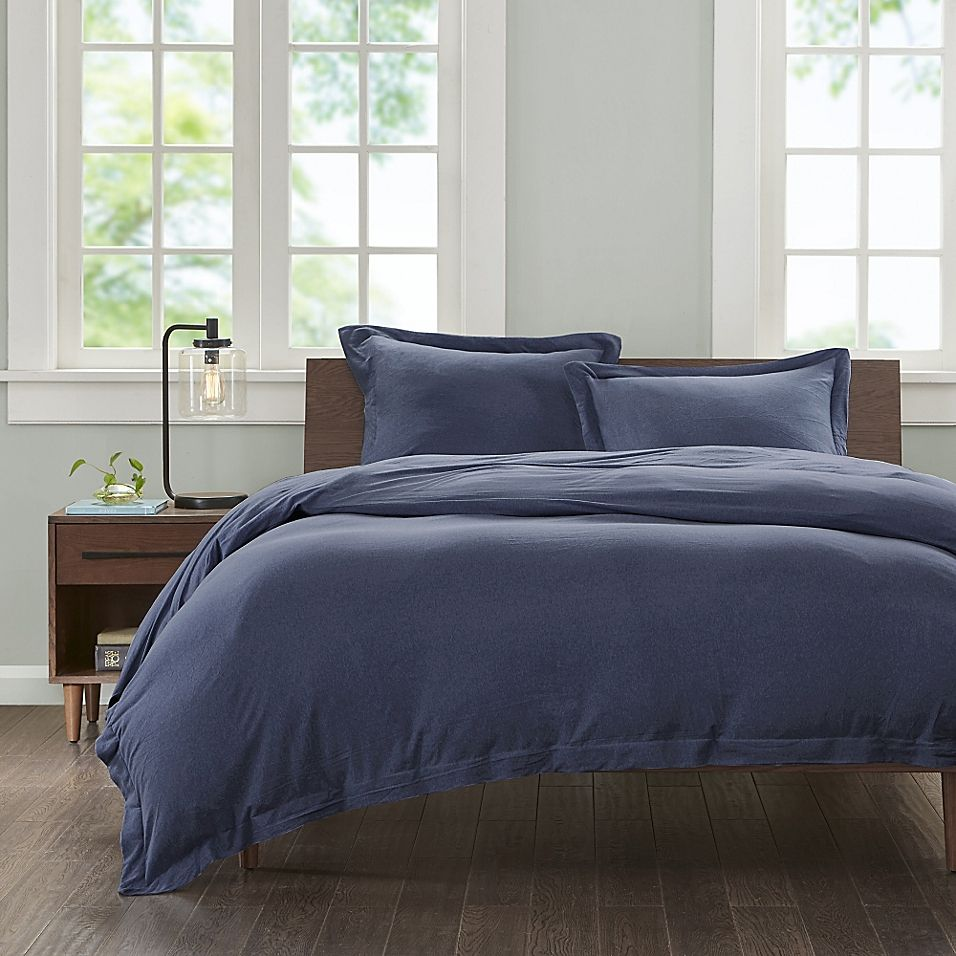 Ink Ivy Cotton Jersey Knit Twin Twin Xl Duvet Cover Set In Navy