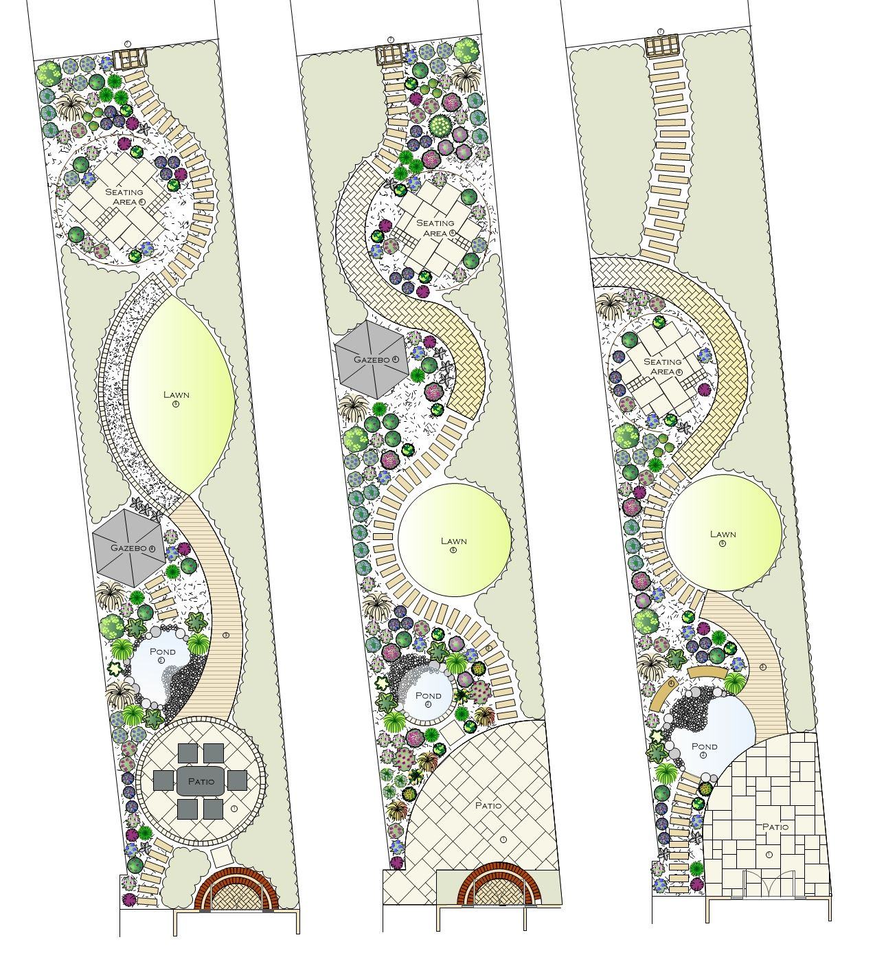 Long Narrow Garden Design Ideas: Designs For A Long Narrow Garden. Note Clay Pavers Used