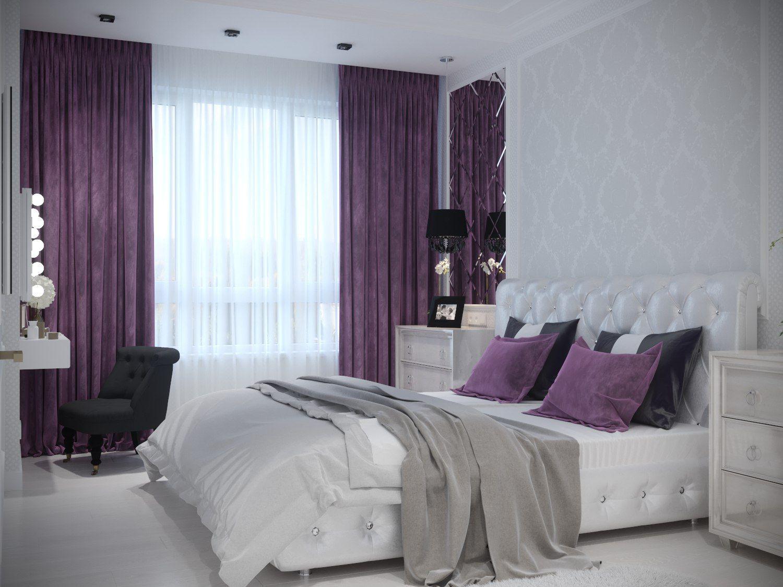 картинки штор в спальную комнату к сиренево серебристым обоям бассейн белоснежной