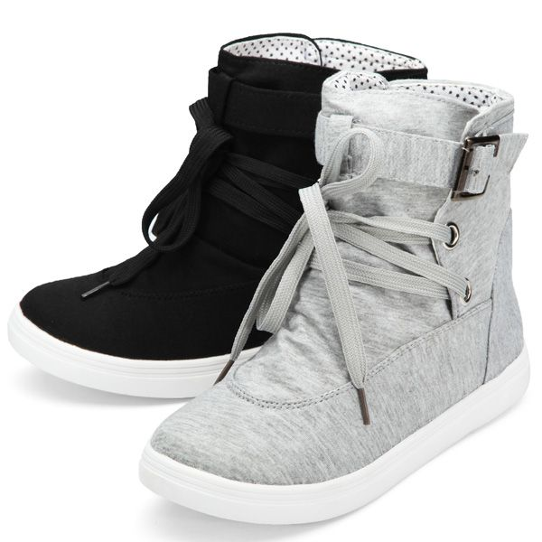 16e6c8333 Flat Lace Up High Top Canvas Shoes Casual Trainers Ankle Boots ...