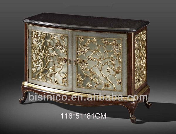 Exquisite Wood Carved Two Door Cabinetsideboardbuffethand Painted