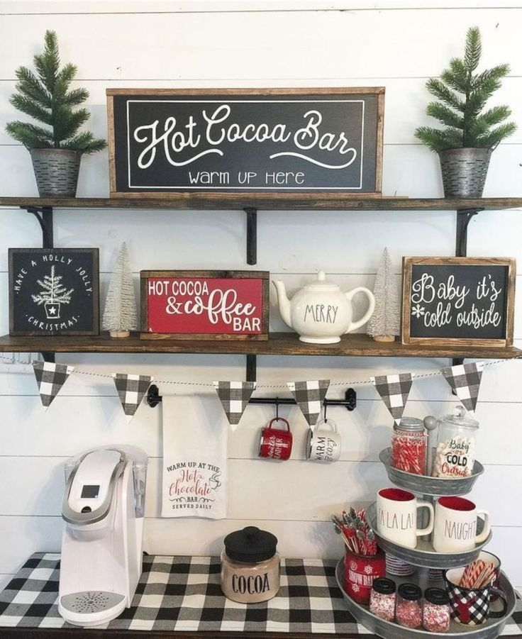 45 Cute Farmhouse Christmas Decoration Ideas Godiygo Com Coffee Bar Home Farmhouse Christmas Decor Decor
