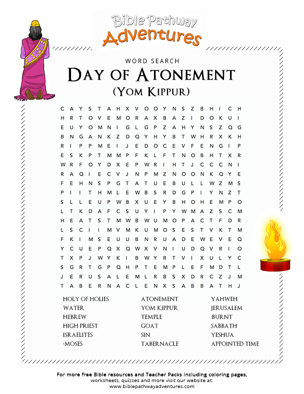 bible word search day of atonement yom kippur bible words yom kippur and atonement. Black Bedroom Furniture Sets. Home Design Ideas