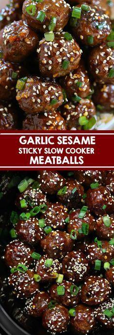 Slow Cooker Sticky Garlic Sesame Meatballs - Swanky Recipes