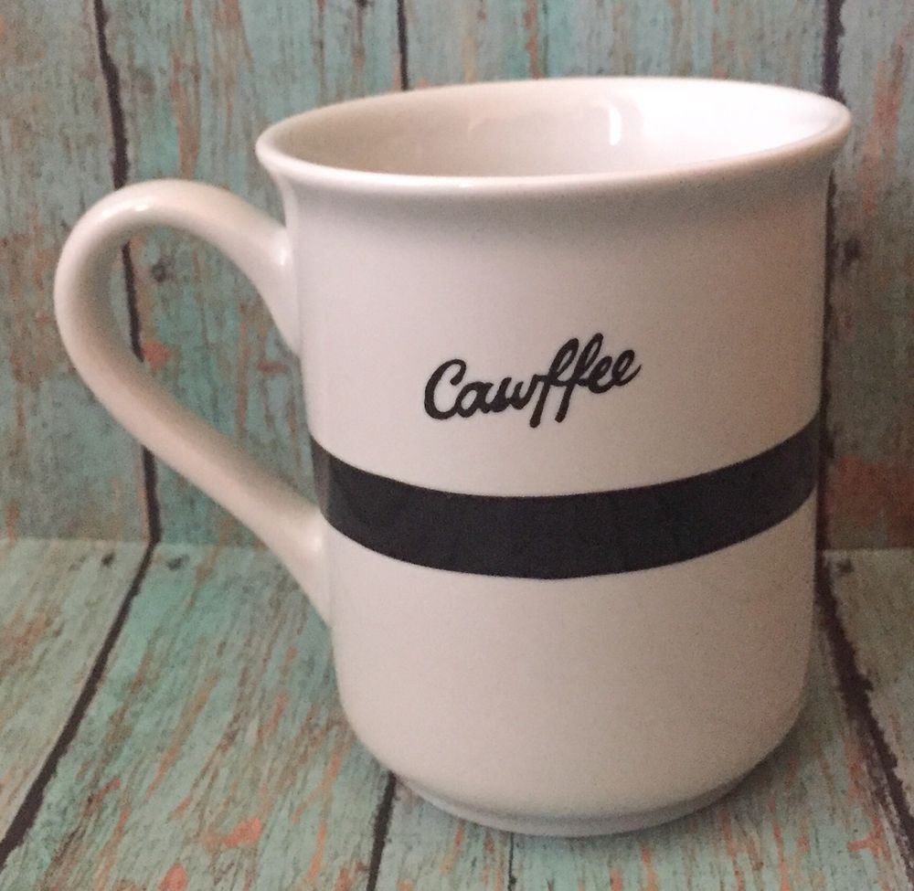 7ed4905013b Fishs Eddy Cawfee Mug Kristina Sacci Coffee Cup Black Stripe White Drinkware  #FishsEddy