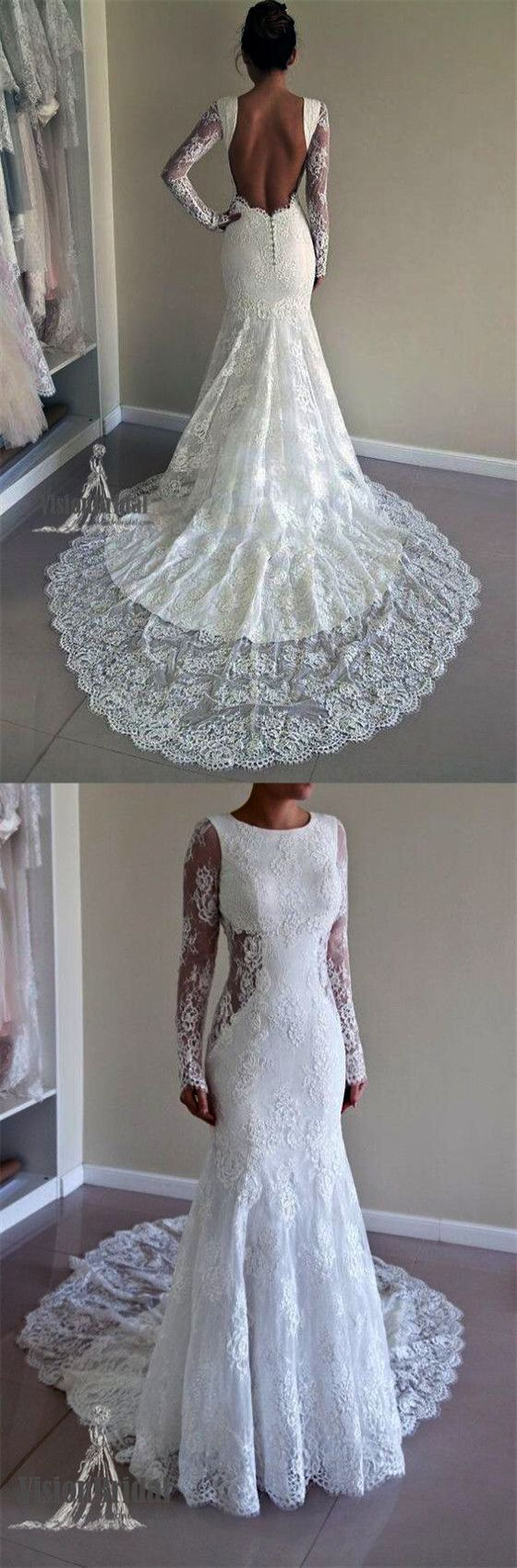 Trendy ue diamond lace wedding dress long sleeve marvelous lace