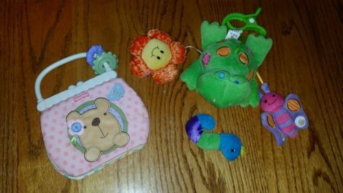 LOT OF 2 BABY TOYS (FISHER PRICE BOOK)(FROG SOFT TOY MOBILE ...