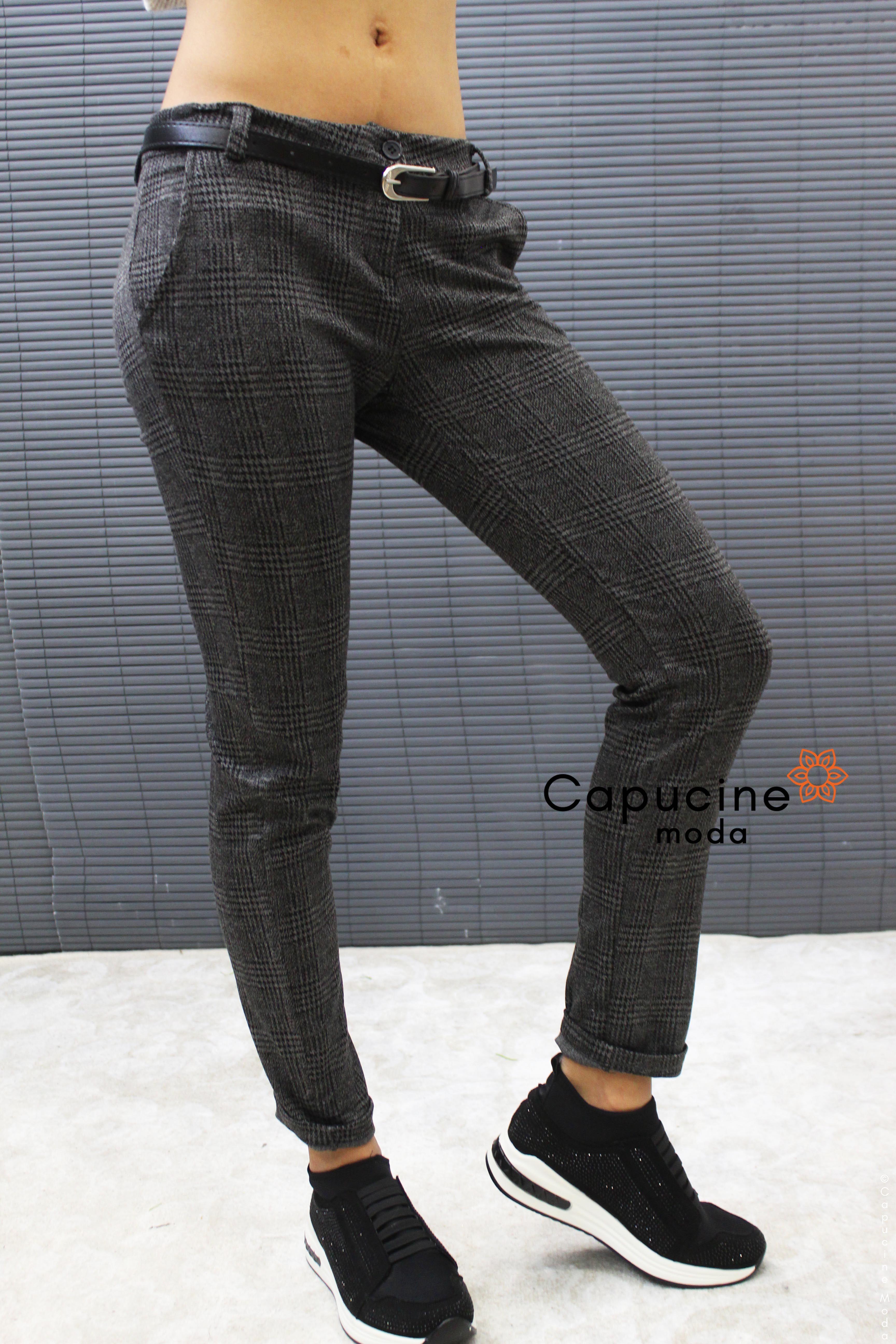 Pantalon Prince De Galles Femme - Ceinture, 2 Poches + 2 Fausses Poches  Arrière   b839a92d940