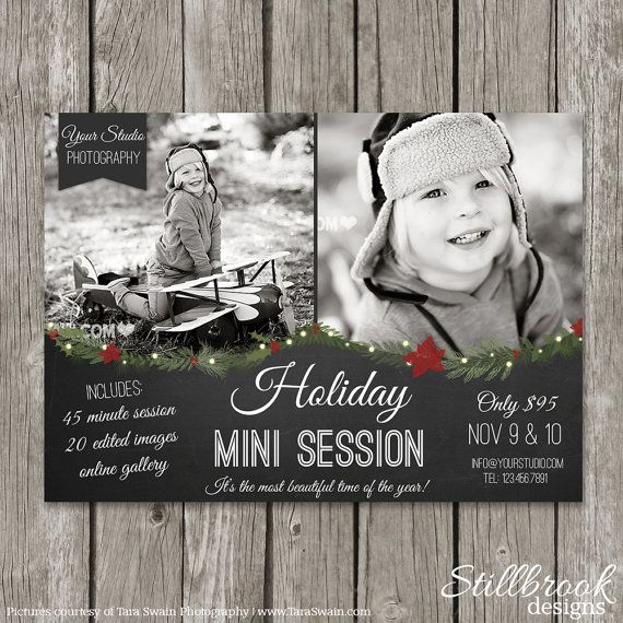 christmas mini session template holiday marketing board for