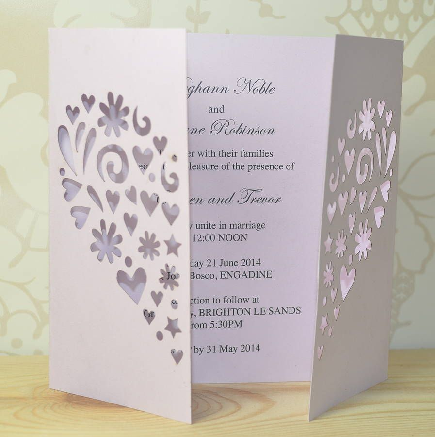 Heart Laser Cut Gatefold Wedding Invitation Sweet Peaswedding
