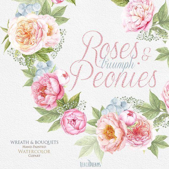 Boda acuarela guirnalda & Ramos, peonias, flores rosas Inglés ...