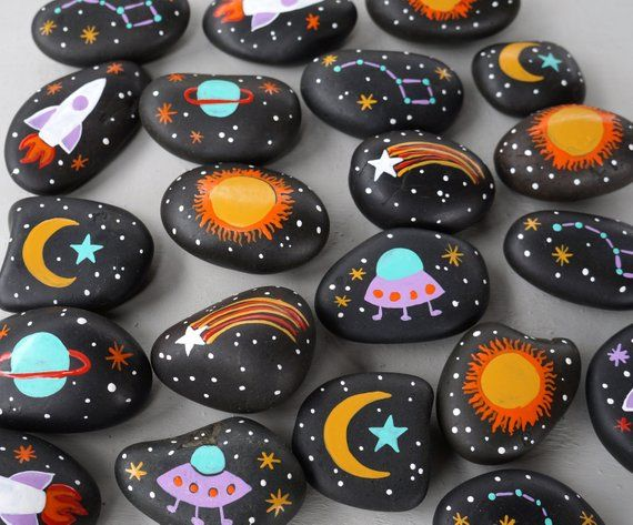 Set of 20 Hand Painted Space Rocks Themed Party Favor Moon Stars Rocket ufo Planets Universe Science Decor Eco-Friendly sun boy birthday