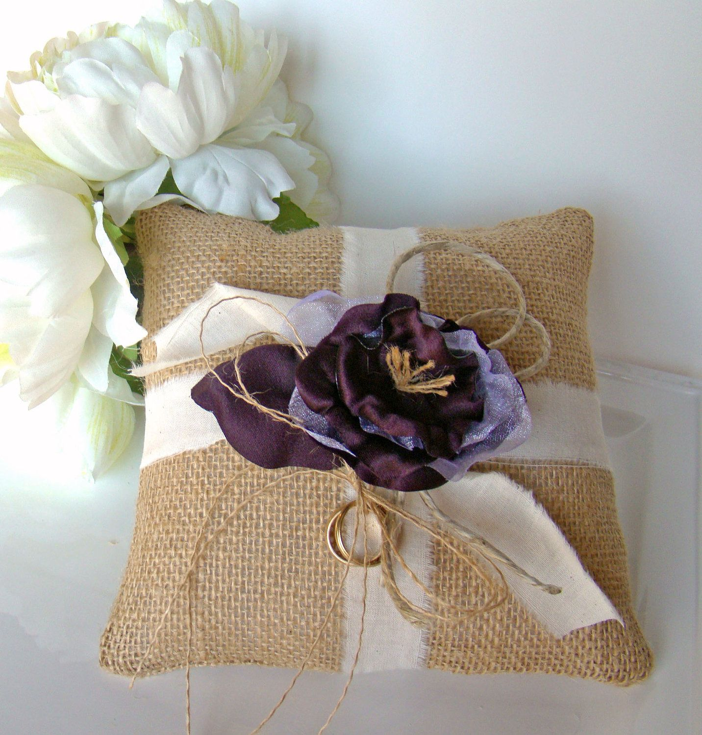 Burlap Ring Bearer Pillow, Purple Ring Pillow, Rustic