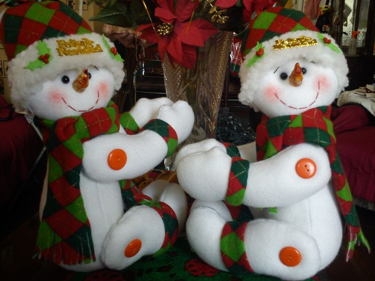 muecos de nieve sujeta cortinas proyectos navideos pinterest