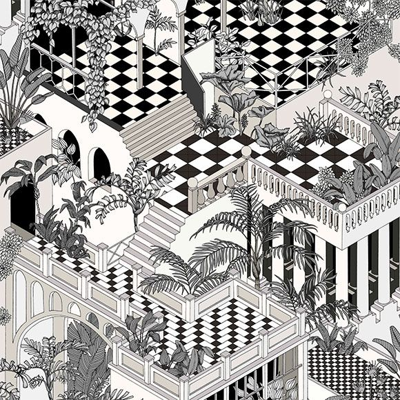 Papier Peint Miami Noir Et Blanc Collection Icons De Cole And Son Papier Peint Fond D Ecran Noir Et Blanc Papier Peint Geometrique