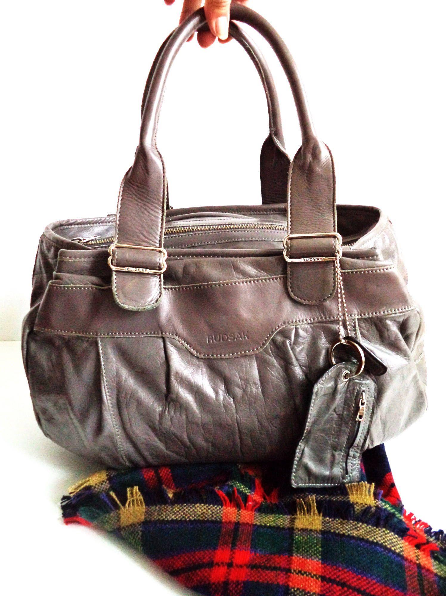 RUDSAK huge Duffel Leather Speedy Barrel Bag Satchel Purse Grey Gunmetal  Tote b2561ee895766
