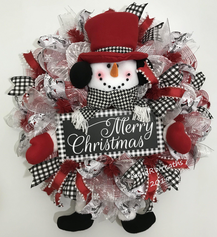 486c19 Snowman Wreath Christmas Wreath Holiday Wreath Front Door Wreath By Kandrwreaths On Et Christmas Wreaths Holiday Wreaths Deco Mesh Christmas Wreaths